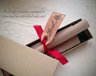 Alice in Wonderland WEDDING INVITATION -  Scroll Wedding Invitation - Moss-lined presentation box - addressed - ready to mail