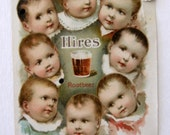 Vintage Hires Root Beer Advertising, Trade Card with Babies