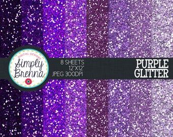 Purple Glitter Paper Pack Colorful Glitter Digital Paper Personal & Commercial Use INSTANT DOWNLOAD
