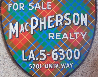 VINTAGE ADVERTISING SIGN, Realty Business, tartan plaid, shield, painted wood, mid century