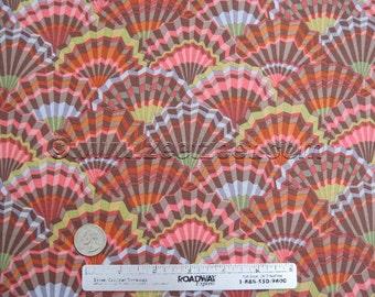 Kaffe Fassett PAPER FANS BROWN - Gp143 Cotton Quilt Fabric by the Yard Rust Gold Mauve