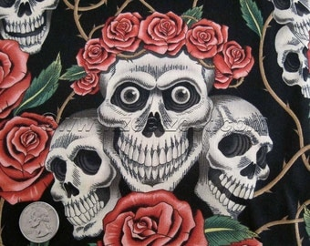 ROSE TATTOO Black Tea Alexander Henry Skulls and Roses Day of the Dead Quilt Fabric by the Yard Dios de los Muertos SKULL