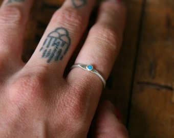 Sterling and Turquoise Stacking // Midi Ring