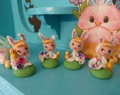 OOAK Sweet Little Easter Pixie Bunnies and Chicks Polymer Clay Figurine You Pick