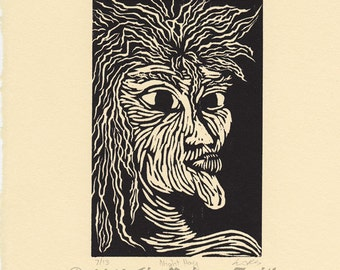 Night Hag Keziah Mason Dreams in the Witch House woodcut print 10 x 8