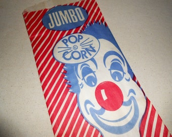 Vintage Jumbo Popcorn Bags, Clown Bags, Paper Bags, Circus Party, Vintage Clown, Party Supplies
