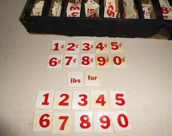 Vintage Grocery Store Price Tag Numbers, Vintage Numbers, Junk Journal, Vintage Journal