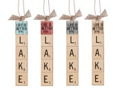 Choose Your Lake Sign, Scrabble Letters, Natural Burlap, Rustic Ornament, Lake House Gift  (Life Is Better At The Lake Ornament)