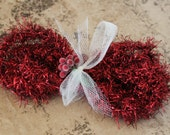 NEW! Deep Red Christmas Tinsel Garland - Soft Vintage Style Tinsel Garland 40 Inches - Christmas Tinsel Trim Primitive Red