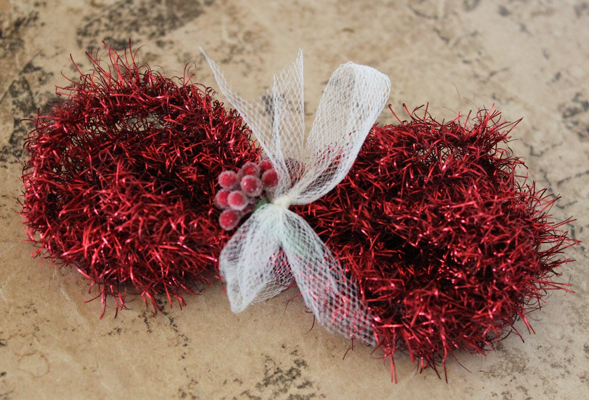 Inches deep red christmas tinsel garland soft vintage