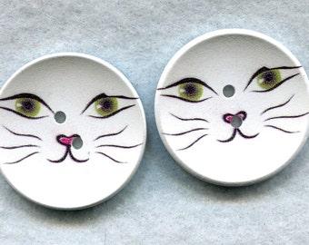 Cat Face Wood Buttons Wooden Buttons 40mm (1 5/8 inch) Set of 4 /BT233