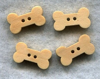 Dog Bone Buttons Raw Natural Wooden Buttons 18mm wide (3/4 inch) Set of 8 /BT245A
