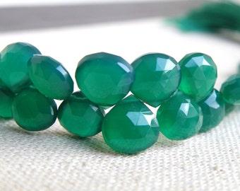 Green Onyx Gemstone Briolette Faceted Heart Emerald Green 7mm Full Strand 54 beads