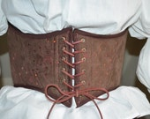 Fairy Renaissance Pirate Corset Faery Cincher Sequened Brown Suede