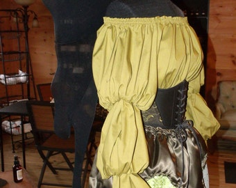 Pirate Wench Gypsy Renaissance Blouse Chemise Costume Avacado Green