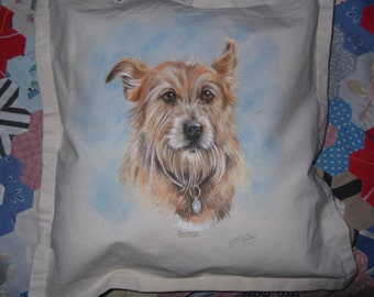 Hand Painted Pet Portrait on a Cushion Cover