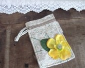 OOAK Small Purse or I pod case in recycled fabrics. Upcycled Flora in Lemon