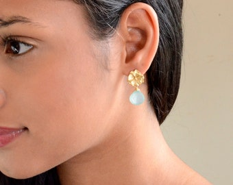 Sea Blue Chalcedony Gold Earrings - Flora Earrings