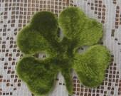 Millinery Velvet Leaves Czech Republic 10 Embossed Green Velvet 4 Leaf Clovers Shamrocks  NLC 111 GR