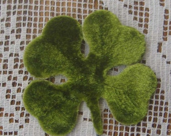Millinery Velvet Leaves Czech Republic 10 Embossed Green Velvet 4 Leaf Clovers Shamrocks  NLC 111 GR