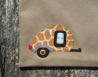 Teardrop trailer camping gear with giraffe fabric applique travel trailer vintage camper canvas bag toiletry bag cosmetic bag camper decor