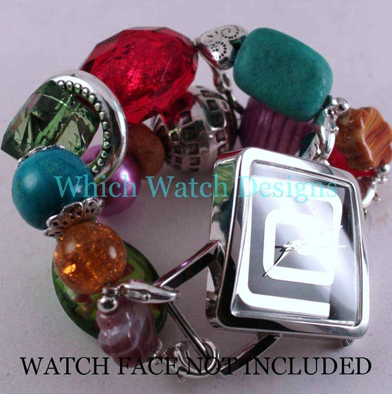 Summer Brights.. Turquoise, Fuchsia, Purple, Green, Honey Interchangeable Beaded Watch Band