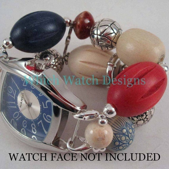 Americana.. Chunky Red, Cream and Navy Blue Interchangeable Beaded Watch Band
