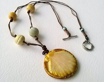 Ceramic Shell Necklace on Waxed LInen Cord