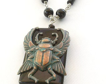 Egyptian Scarab Necklace with Black Onyx