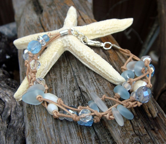 Authentic Cape Cod Sea Glass Bracelet With Mother Of Pearl