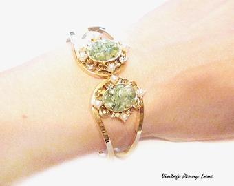 Vintage Clamper Bracelet, Green Jade Chip