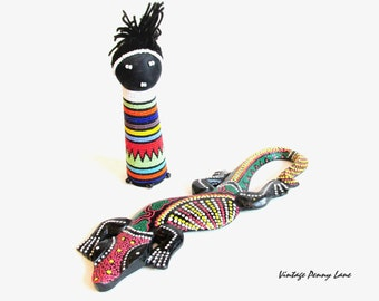 Colorful Souvenir Figurines / Jamaica Wood Reptile / Beaded Doll