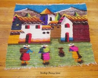 Vintage Handmade Peruvian Tapestry, Quilted / Felted Folk Art