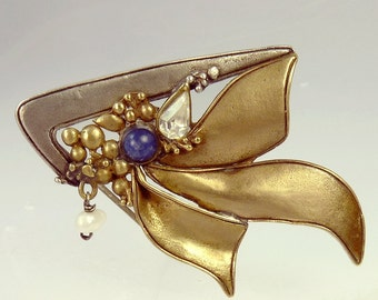 Vintage Sterling Silver Mixed Metal Lapis & Pearl Brooch