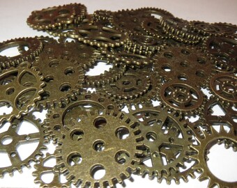 "100 Gears 1/3""- 1"" Pieces Lot New Steampunk Watch Parts Clock Wheels 1/2 Pound,"