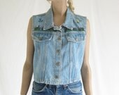 Vintage 80s  Denim Embroidered Boho Vest