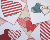 Kids' Valentine Cards // Hearts // Hand Stamped // Set of 10 // Red White and Black
