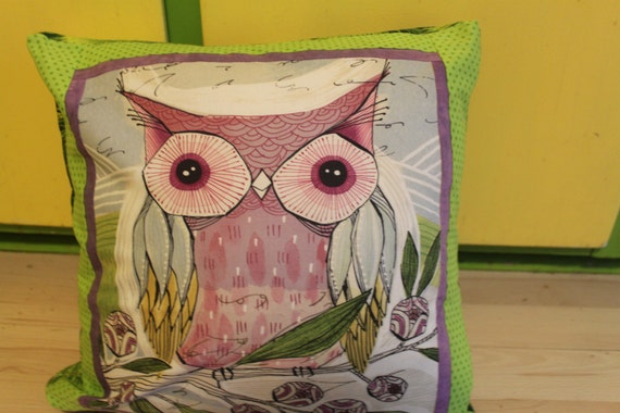 Owl Throw Pillow Etsy : Items similar to Owl Green Square Throw Pillow on Etsy