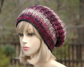 Slouchy Hat, Rose Burgundy Pink Knit Slouchy Beanie Hat, Oversized Beanie, Chunky, Hand Knit Women's Winter Hat, Chunky Knit Hat, Reversible