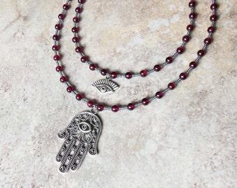 Untouchable - garnet hamsa necklace - protection - evil eye