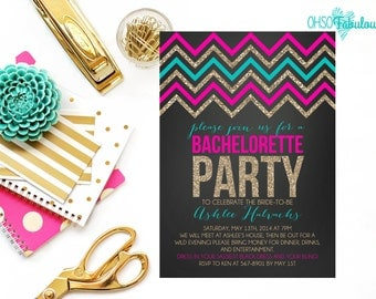 Glitter Chevron Bombshell /// Bridal Shower Bachelorette Party Invitation /// Customizable and PRINTABLE