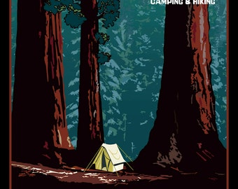 Sequoia National Park Travel Poster Refrigerator Magnet   - FREE US SHIPPING