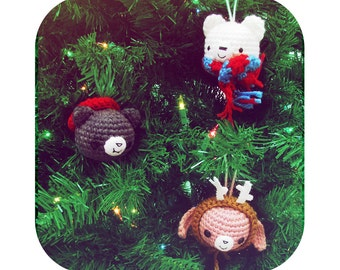 Adorable christmas ornaments - bunny bear cat - PDF crochet pattern - INSTANT DOWNLOAD