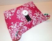 Foldover Bag/ Quilted/ Hot Pink and White