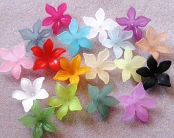 SALE Large Flower Beads Frosted Lucite Acrylic Choose Your Colors Mix 28mm 417
