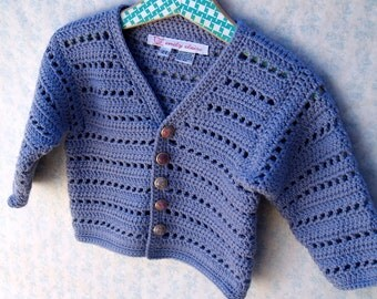 Toddler Girl Sweater - Classic Lavender Purple Crochet Cardigan With Vintage Flower Buttons- Size 2T - 3T (CARD108)