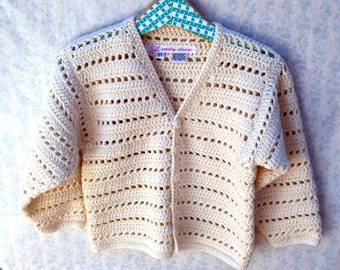 Toddler Girl Sweater - Classic Winter White Crochet Cardigan With Vintage Buttons- Size 3T - 4T (CARD109)