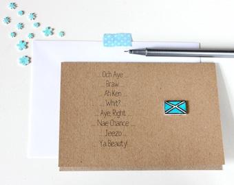 Scottish Card. Handmade Scottish Card. Hello Card. Saltire Card. Scottish. St Andrews Card. St Andrew. Scotland. Flag Card. Och Aye. Blue