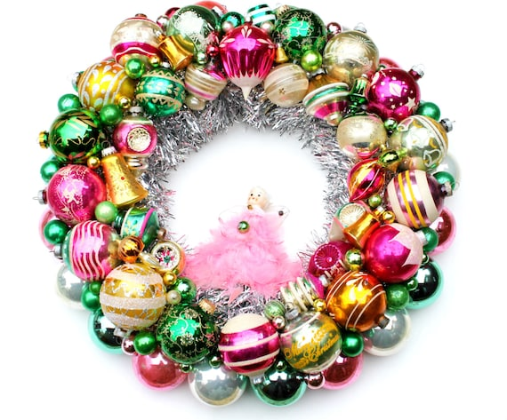 Clearance sale vintage green pink ornament wreath by atticwear for Christmas ornament sale clearance