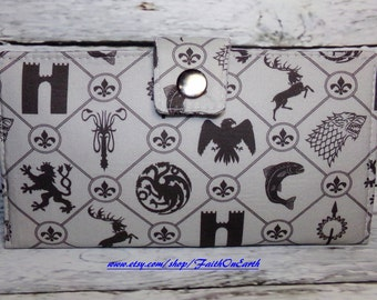 Handmade Long fandom geek Wallet  BiFold Clutch - Vegan Wallet - Game of Thrones-inspired house sigil design in gray